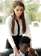 Brunette secretary fucked in the ass by a black guy