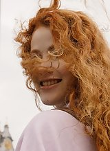 Freckled redhead Heidi Romanova flashing in Kiev
