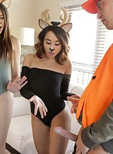 Lucky guy gets to fuck 2 girls dressed as deers