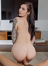 Tattooed brunette Marley Brinx getting fucked