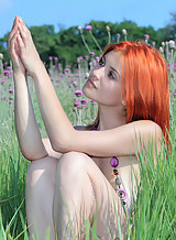 Wet redhead with pale skin naked in a field