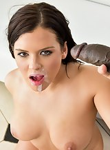 Chubby brunette takes a big black cock up the ass