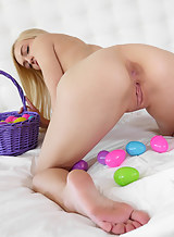 Gorgeous blonde easter bunny fucked and covered in cum