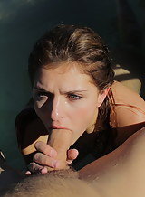 Sexy brunette hottie Leah Gotti licked and fucked in a pool
