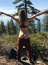 Kristen Scott and Sierra Nicole stripping on a mountain