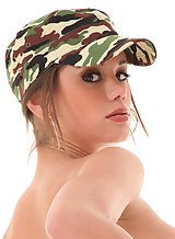 Sexy brunette Caprice in a sexy camo uniform