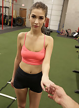 Cute brunette getting fucked after a workout